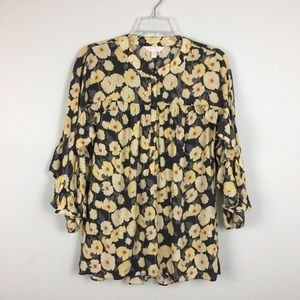 LC Lauren Conrad Yellow Floral Ruffled Popover. S